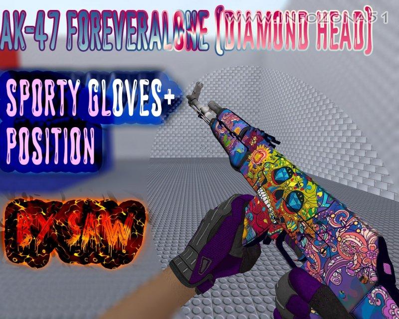 AK-47 ForeverAlone (DiamondHead) [Gloves+Position]